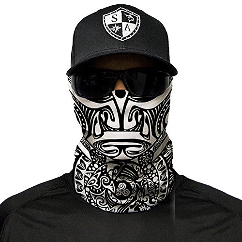 SA Fishing Company Face Shield Sturmhaube viele verschiedene Designs Multiunktionstuch Maske Fishing Totenkopf Schal Skull Bandana Gesichtsmaske Halstuch Ski Motorrad Paintball (Polynesian Tribal)