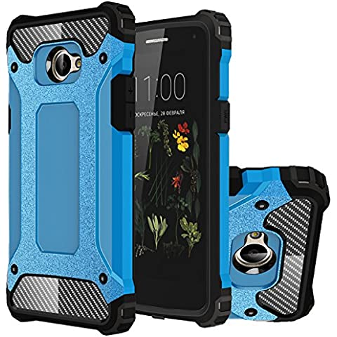 LG K5 Funda, HICASER Híbrida Case [Heavy Duty] Rugged Armor Cover, Dual Layer Shock Resistant Carcasa para LG K5 Azul