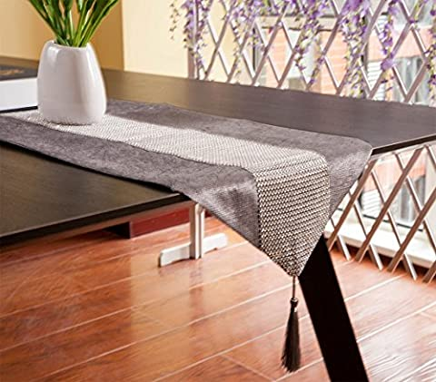 DIKETE® Table Runner Luxury Sparkly Dinner Tablecloth [Diamond Encrusted with Tassels] Classical Party Placemat for Wedding Christmas Reception Banquet Decor [13x72Inch] Silvery Gray