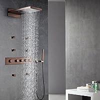 jiayoujia lusso termostatico a parete cascata doccia a pioggia doccia con getto spray per il Corpo a mano in olio strofinato bronzo (doccia testa 560x 230mm)