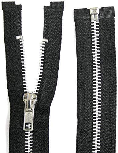 Jajasio 3 Reißverschlüsse Metall Aluminium, teilbar, 30 cm lang schwarz -