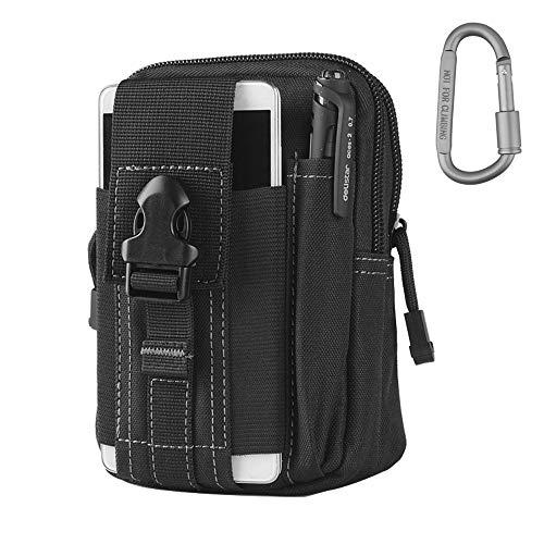 Taktische Hüfttaschen, Molle Tasche EDC Tasche Herren und Damen mit Aluminiumkarabiner für Wandern Arbeiten Camping