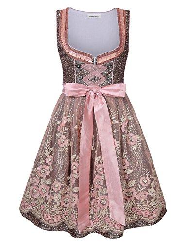 Clearlove Dirndl 3 tlg.Damen Midi Trachtenkleid für Oktoberfest- Spitzen Kleid, Bluse & Schürze
