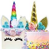 BESYZY 2pcs Unicornio Cake Topper Decoración para Tarta Unicorn Cumpleaños Cake Toppers para Cumpleaños Baby Shower Fiesta Temática