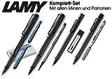 LAMY Safari Set [Füller + Kugelschreiber + Tintenroller + Bleistift] (inkl. Ersatzminen + Patronen, Umbra)