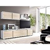 Composición de salón moderna y barata de 200 cm en blanco brillo y color natural