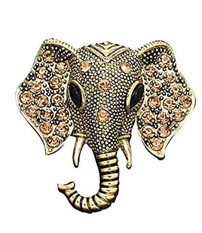 Vintage Brooches Pins Swarovski Elements Crystal Elephant Antique Jewellery Champagne