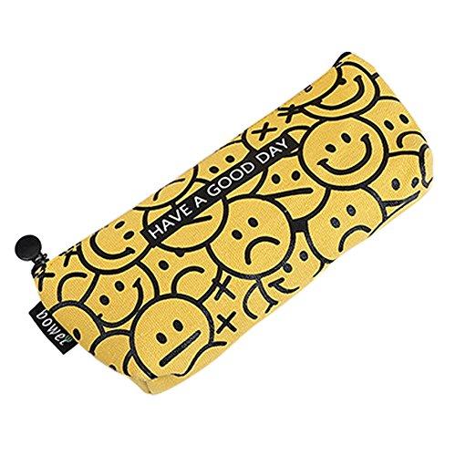 Jungen Smiley-gesicht (Hacoly Smiley-Gesicht mäppchen mädchen Junge Leinwand Federmäppchen Student Niedlich Reißverschluss Briefpapier Pouch Pencil Case Für Studenten Beginne mit der Schule Geschenke -)
