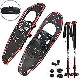 ALPIDEX Rachette Neve Alluminio Borsa Inclusa Bastoncini Carbonio Opzionale Uomo Donna, Colore:Black/Red 30 con Bastoncini