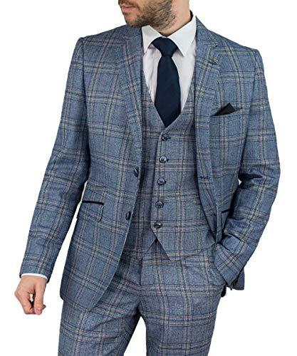 Cavani Herren Brendan 3-teiliger Anzug, Blau & Wein (Blau, EU 48R Brustumfang/EU 42R Bundumfang) -