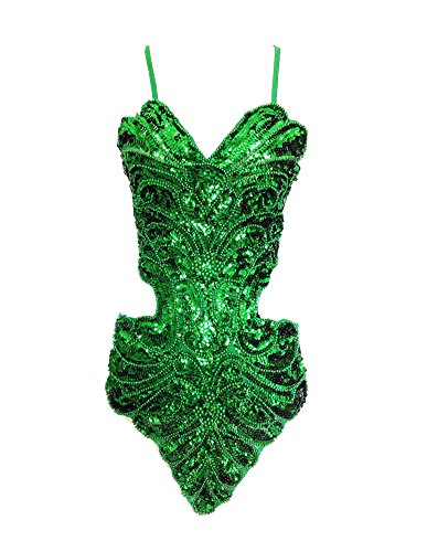 Gladiolus Damen Latein Tänze Tanzkostüme Kleidung Tanzkleid Partykleid Darbietungen Grün Einheitsgröße