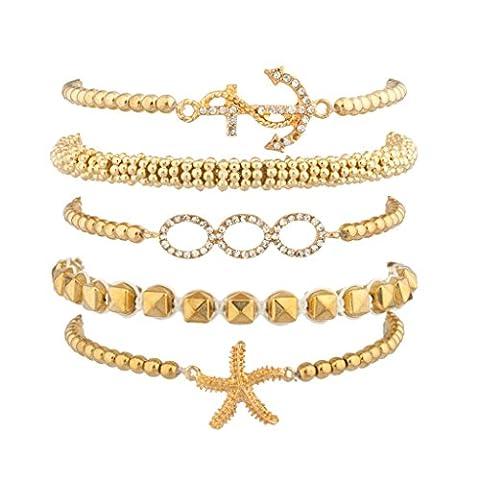 Lux Accessories–Lot de bracelets de l'amitié avec étoile de mer, ancre, perles