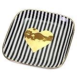 Kleiner Schmuckteller schwarz weiß gestreift mit Goldherz und Goldrand 11,5 cm