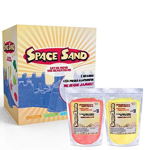 Space Sand, Beach Sand 2kg Super Sand con 50 moldes diferentes formas,...