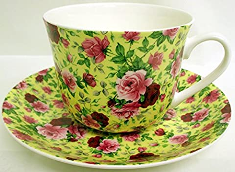 English Rose Breakfast Cup & Saucer Fine Bone China Large Yellow Version Roses Cup & Saucer Set Hand Decorated in the U.K. Free UK Delivery