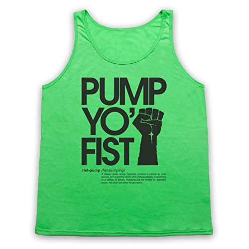 Pump Yo Fist Slogan Tank-Top Weste Neon Grun