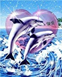 BBINGK Diamant Malerei Diamant Stickerei Tier 5D DIY Diamant Malerei Dolphin Bohren Voll Mosaikbild Wohnkultur,30 * 45Cm,Round Drill