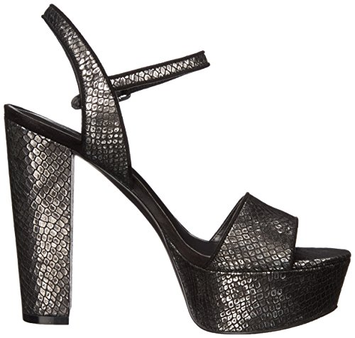 Nine West Garofano pompa Dress sintetico Black and Silver Metallic