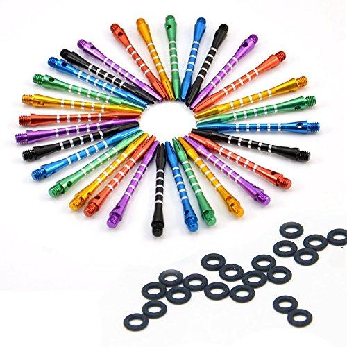 *ToBeIT 18 Stücke Alumium Dart Shaft – metall Darts Shafts Dartschäfte mit 20 Stücke Dart Gummiringe*