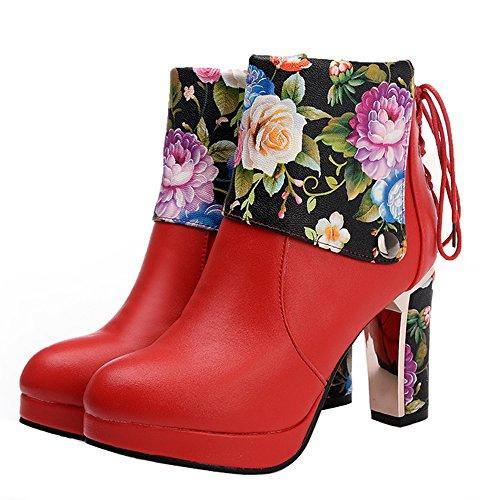 ENMAYER Frauen Cool Girl Style Fashion High Heels Stiefel Rot