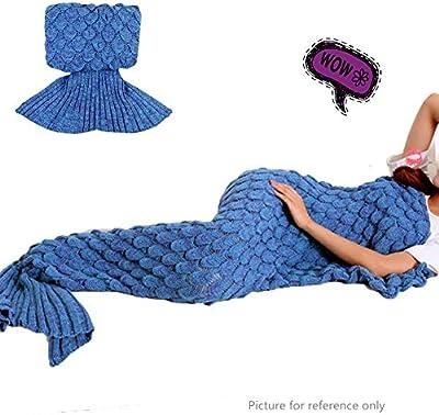 Sirena manta tamaño adulto, ganchillo Snuggle saco de dormir con punto patrón, suave sofá manta
