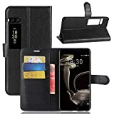Tasche für MeiZu Pro 7 Plus Hülle, Ycloud PU Kunstleder Ledertasche Flip Cover Wallet Case Handyhülle mit Stand Function Credit Card Slots Bookstyle Purse Design schwarz