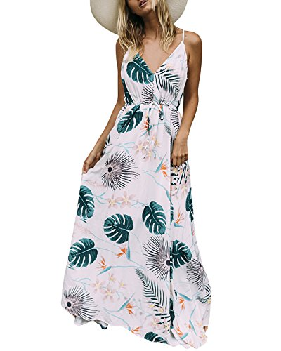 Auxo Damen Blumen Kleid Ärmellos V-Ausschnitt Kleider Lange Dress Party Club Strandkleid Weiß 1 EU 44/Etikettgröße XL -