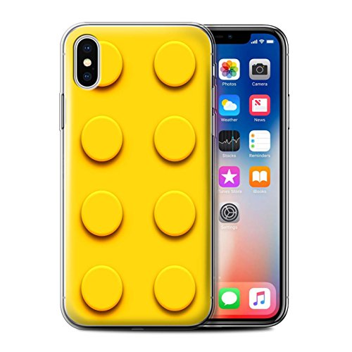 Stuff4 Gel TPU Hülle / Case für Apple iPhone X/10 / Türkis Muster / Spielzeug Steine/Blöcke Kollektion Gelb