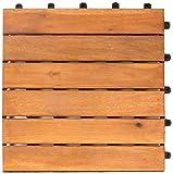 Vanage Piastrelle da Giardino in Legno Incastrabili per Pavimentazione Esterno e Interno - 18 Mattonelle - 30 x 30 cm - Stile Classic