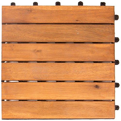 Vanage Holzfliesen 18-er Kachel Set - perfekt geeignet als Terrassenfliesen und Balkonfliesen - aus Akazien Holz FSC 100% - Design: Classic, 30 x 30 x 2,4 cm in braun