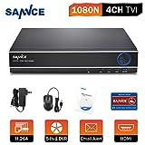 ANNKE Sistema de seguridad 4 Canales DVR 720P AHD/TVI/CVI/ CBVS/IP 5-en-1 Grabador de Video H.264 P2P Seguridad CCTV Sistema de Vigilancia Detección d