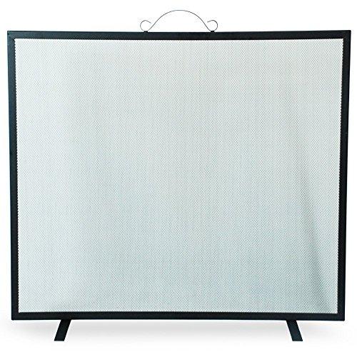 Simpa® parascintille 73cm x 76cm singolo pannello parascintille fire place guard screen spark parafiamma con maniglia superiore singolo pannello piatto design, nero