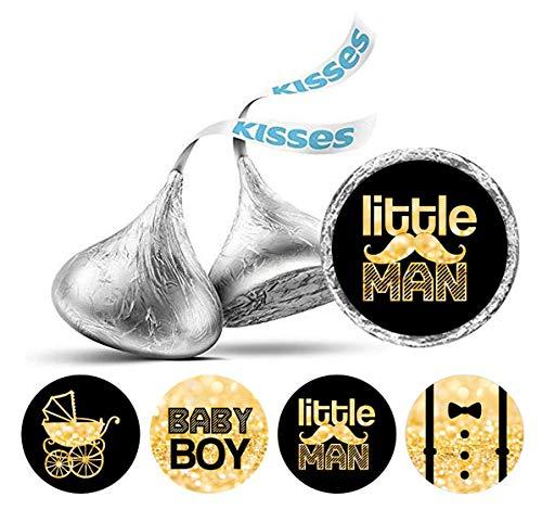 Darling Souvenir Hershey Kisses Süßigkeit Labels Little Man Runde Sticker 190 Pcs Partei Fabor-Schwarz-Gold-Glitter