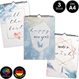 OfficeTree 3 Bastelkalender zum Selbstgestalten im Aquarell Design - Kalender DIY in Din A4 - Immerwährender Kalender zum Selbstgestalten - Blanko Kalender zum Aufhängen