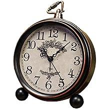 Reloj despertador de mesa vintage europeo Personalidad Reloj de escritorio silencioso nostálgico Reloj despertador de cama retro antiguo con puerto colgante para sala de estar Dormitorio Sala de estudio Decoración de oficina de metal antiguo Cobre y color (13,3 * 4,5 * 15,5 cm)