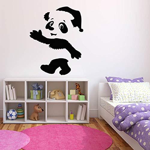 wukongsun Niedliche Tier Wandtattoos Panda Bär Wandtattoos Kinderzimmer Kinderzimmerdekoration Wandtattoos Autoaufkleber Schaufensterdekoration schwarz 72x57cm