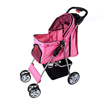 Beshomethings Dog Puppy Cat Pet Travel Stroller Pushchair Pram Jogger Buggy Carrier With 4 Wheels (Pink) 3