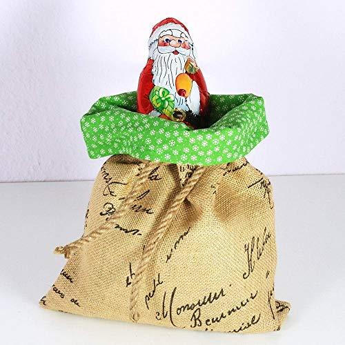 Geschenkesack Weihnachtssack aus Jute mit grünem Baumwollstoff gefüttert