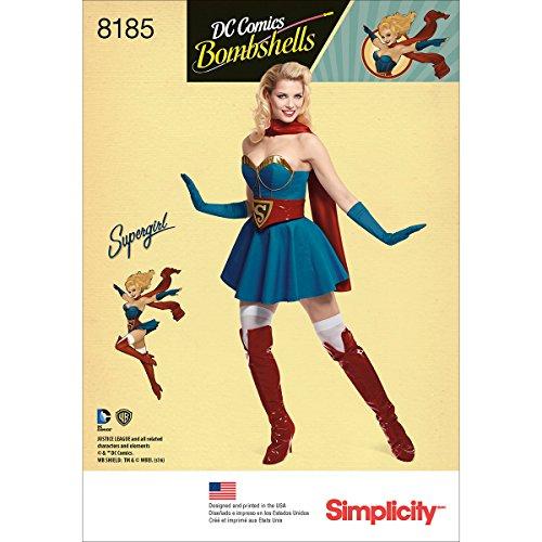 Simplicity 8185 R5 Schnittmuster D.C Bombshells Super Girl Kostüm für Damen, Papier, Weiß, 22.13 x 15.13 x 1.13 cm