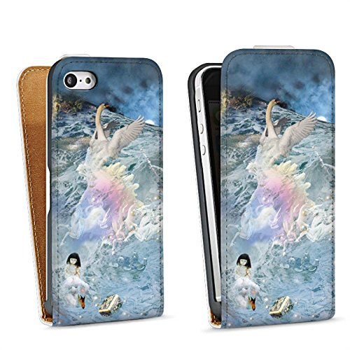 Apple iPhone 6 Housse Étui Silicone Coque Protection Cygne Collage Art Sac Downflip blanc