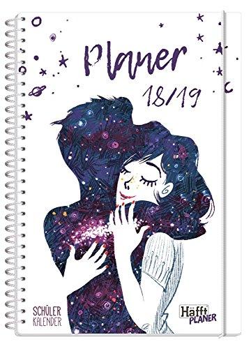 Häfft PLANER Premium A5 2018/2019 [One with the Universe] Spiralbindung mit Schutzdeckblättern, Hausaufgabenheft/Schülerkalender/Schüler-Tagebuch/Schülerplaner
