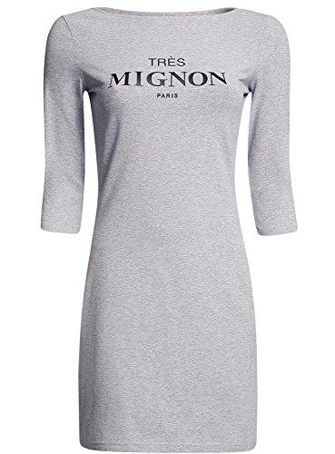 oodji Ultra Damen Jerseykleid mit Druck Grau (2000Z)