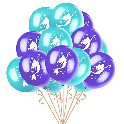 Formemory Meerjungfrau Party Ballons,50 Stücke 12 Zoll Latex-Ballons für Hochzeitsfest Dekorationen Printed Latex Birthday Party Balloons(violett+Grün)