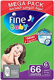 Fine Baby Diapers, DoubleLock Technology , Size 6, Junior 16kg +, Mega Pack. 66 diaper count