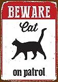 Magnet & Steel Blechschild - Beware Cat on Patrol