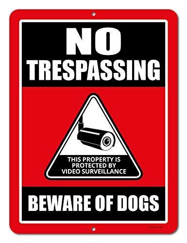 No Trespassing Schilder dieser Eigentum ist durch Video Surveillance Schild Beware of the Dogs 22,9x 30,5cm Metall Aluminium Blechschild, Sicherheit Schilder, Private Property Schild - Home-security-kameras Außerhalb Der