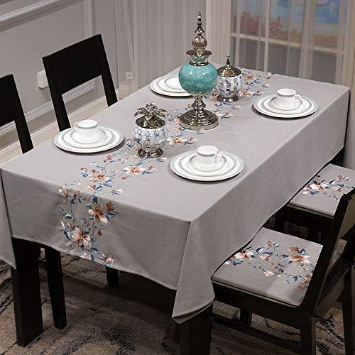 Dekorative Tischdecke Home Moderne chinesische Baumwolle und Leinen bestickte Tischdecke 1029 Wohnzimmer rechteckigen Couchtisch chinesischen Wind Tischdecke (Farbe: grau, Größe: Jiamianyidian (42 * 4