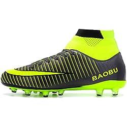 BIGU Botas de Fútbol Hombre Adultos Adolescentes AG Spike Profesionales Aire Libre Atletismo Training Zapatos de Fútbol Al Aire Libre Zapatillas de Deporte Niños Muchachas