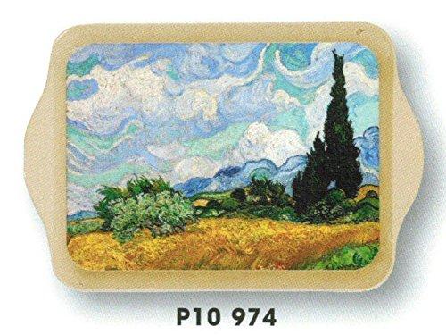 FRANCIA VINTAGE BANDEJA METAL 14x21cm pintor campo de Van Gogh con los