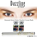 #6: New Dazzling Eyes Zeropower Natural Grey Color Yearly Contact Lens with Free Eye/Lip Liner (2 Lens Pack) By Visions India.